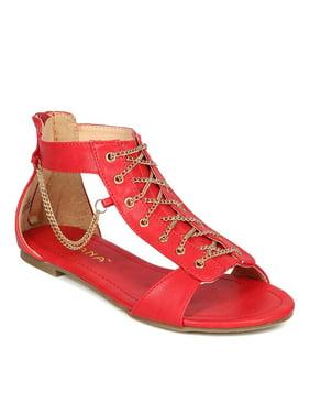 7fae21dfead3d Product Image Liliana CF00 Women Leatherette Open Toe Side Chain Lace Up  Flat Sandal