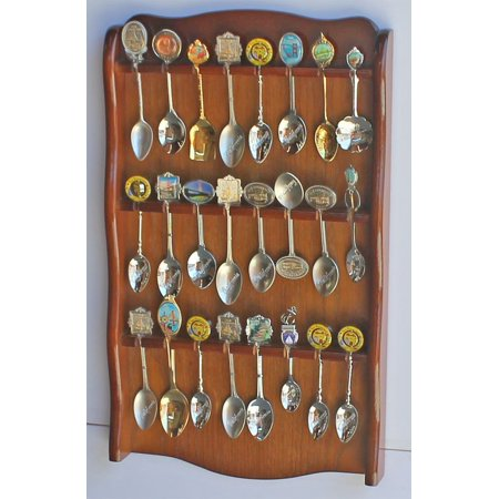 Spoon Rack Holder to hold 24 Spoons, Display Souvenir or Collectible Spoons, SP24-WALN, Attractive Spoon Rack to holds up-to 24 teaspoons or Souvenir.., By DisplayGifts Ship from US ()