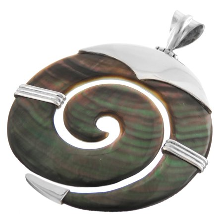 Dark Iridescent Mother Of Pearl Shell Tribal 925 Sterling Silver Pendant, 2