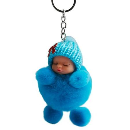 Cute Sleeping Baby Bowtie Fluffy Pompom Fur Plush Doll Keychain Keyring Key - Pink Baby Bottle Keychains