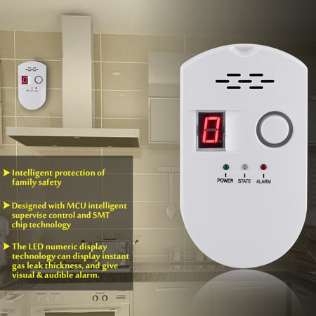 Gas Leakage Detector,LCD LPG LNG Coal Natural Gas Leak Security Alarm Sensor Warning Detector (US (Gas Detector Tube)