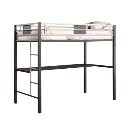 Dhp Silver Screen Twin Metal Loft Bed With Desk Black Silver