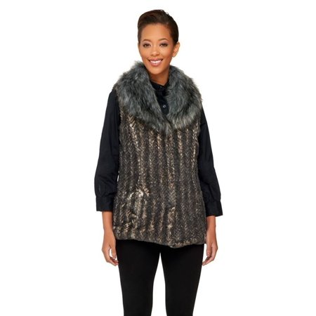 dennis basso faux fur shawl collar vest pockets a260414 - Fur Collar Pockets