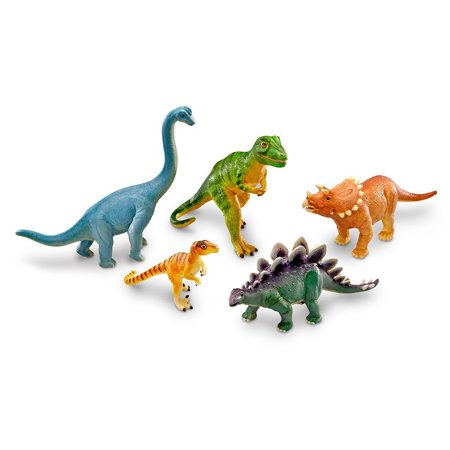 Learning Resources Jumbo Dinosaurs, T-Rex, Brachiosaurus, Stegosaurus, Triceratops, and Raptor, 5 Pieces, Ages - Rugrats T Rex