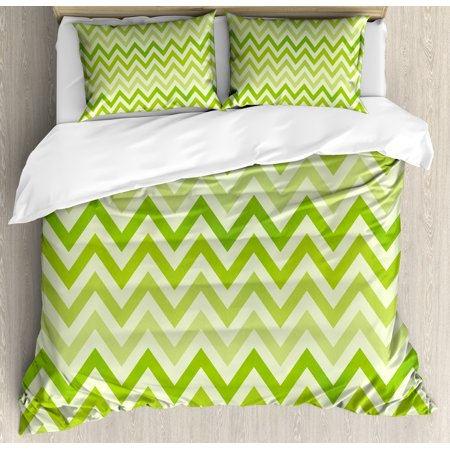 Lime Green Duvet Cover Set, Chevron Traditional Zig Zag Pattern with Symmetric Lines Tribal Modern Pattern, Decorative Bedding Set with Pillow Shams, Pale Green, by Ambesonne