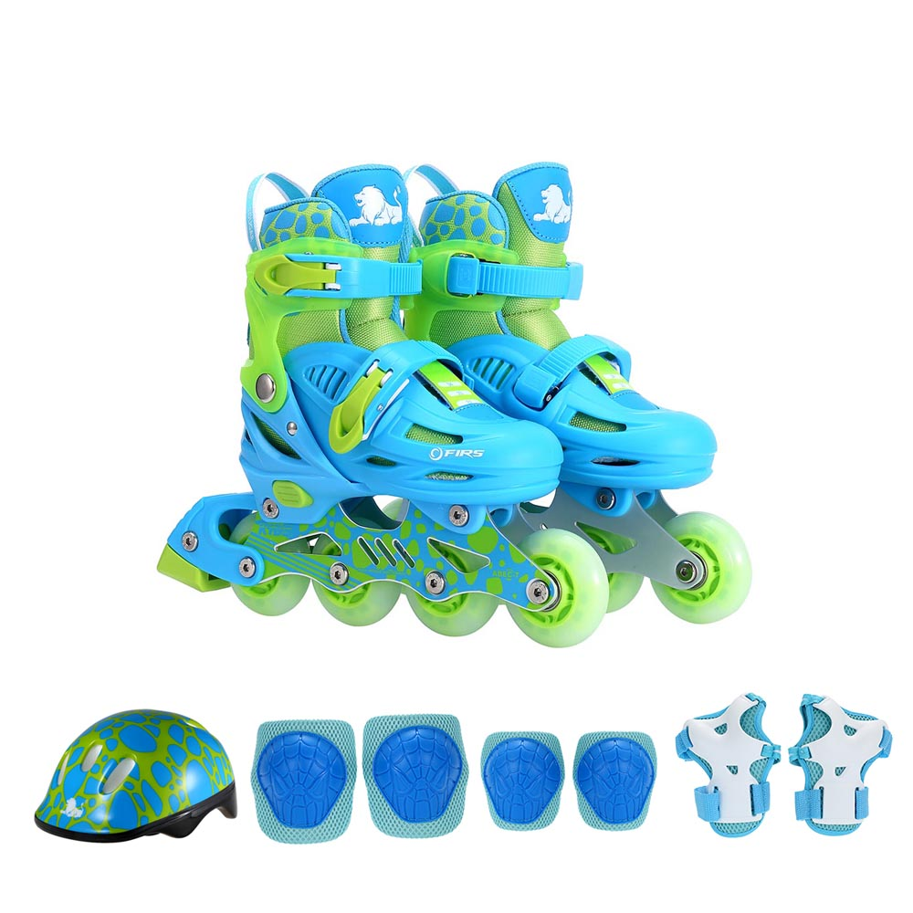 Kids Skateboard Protective Gear Set Glittery Inline Roller Skates with Helmet Elbow Pads Knee Support Pads Wrist Guard