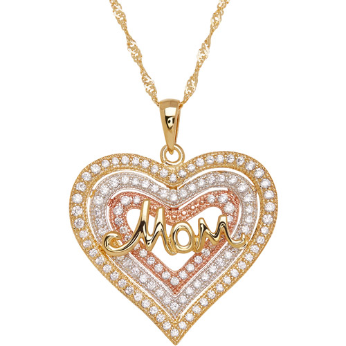 "CZ Sterling Silver and 18kt Gold Plate Triple Graduated Heart with ""Mom"" Pendant, 18"""