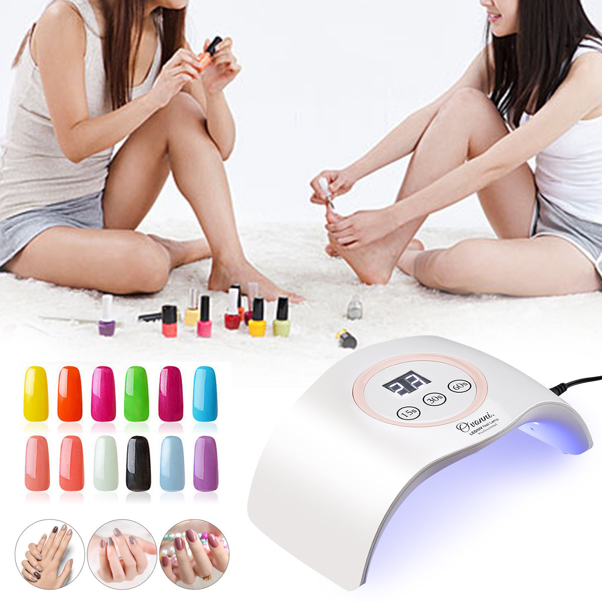 Ovonni 9X 24WLED UV Nail Dryer Curing Lamp For Fingernail & Toenail Gels Based Polishes UV Gel Nail Art Lamp With Sensor