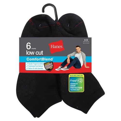 Hanes Men's 6 Pack  Low Cut  Socks