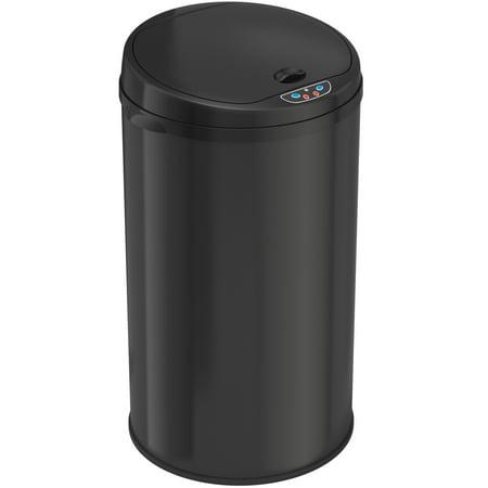 8 Gallon Round Deodorizer Matte Black Stainless Steel Sensor Trash Can