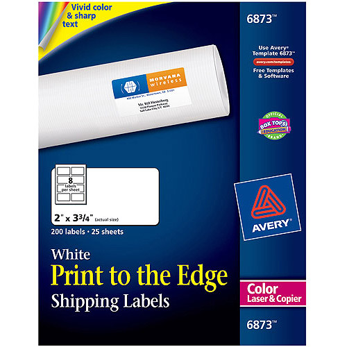 Avery Print-to-the-Edge Shipping Labels for Color Laser & Copier 6873, 2 x 3-3/4, Matte White, 200/Pack