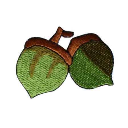 ID 1390 Pair of Acorns Growing Patch Fall Nut Tree Embroidered Iron On