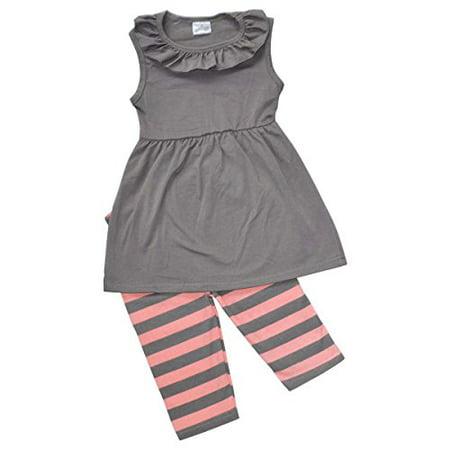 Unique Baby Girls Striped Summer Tank & Capri Boutique Outfit (2T/XS, (Couture Baby Boutique)