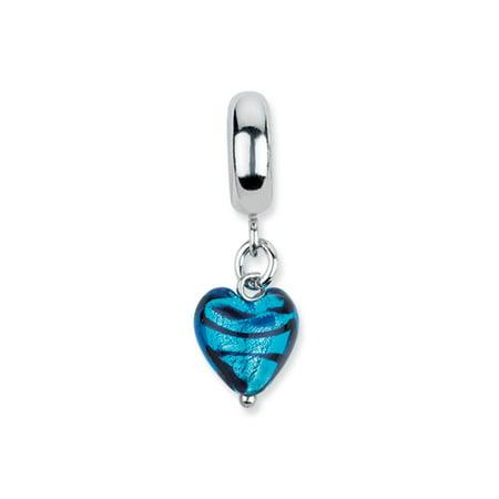Murano Glass & Sterling Silver Blue Heart Stripes Dangle Bead -