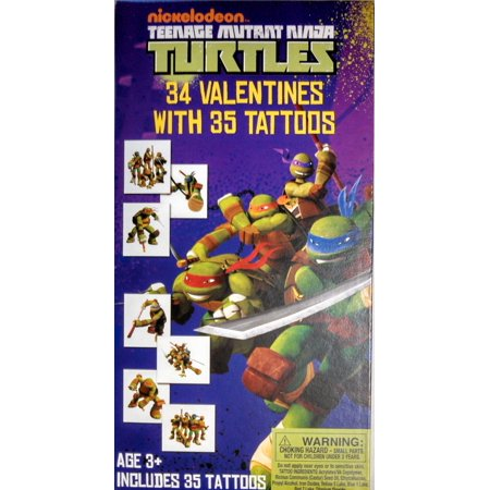 Teenage Mutant Ninja Turtles 34 Valentines Cards with Tattoos - Ninja Turtle Birthday Card