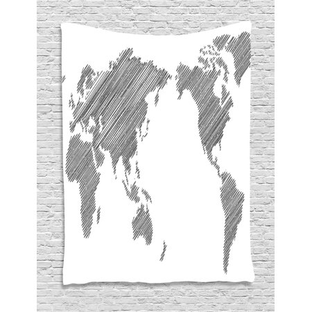 World map tapestry sketchy striped continents cartography geography world map tapestry sketchy striped continents cartography geography countries worldwide pencil art wall hanging gumiabroncs Choice Image