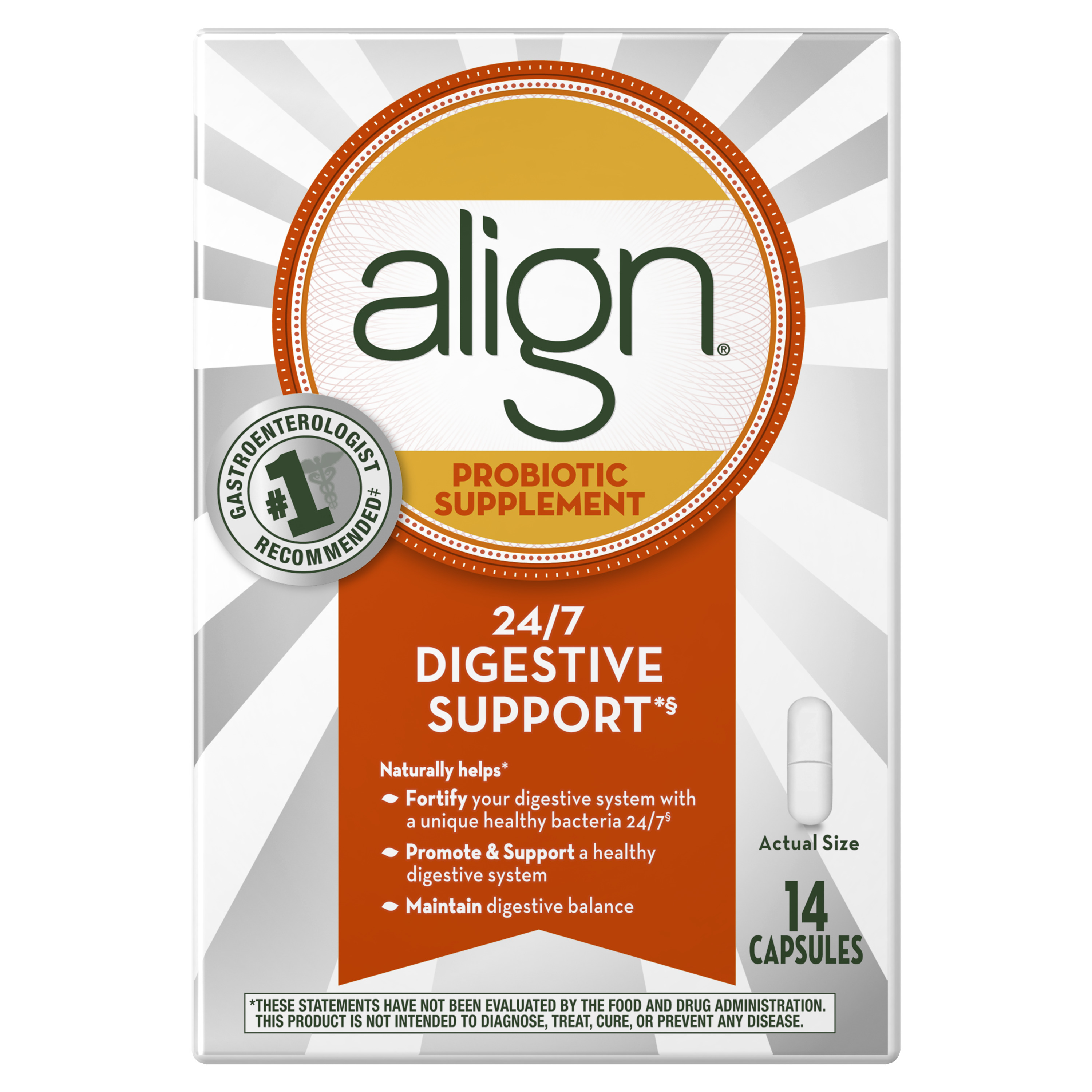 Align Probiotic, Daily Supplement for Digestive Health, 14 capsules