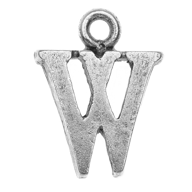 Nunn Design Alphabet Charm, Letter W 14.5mm, 1 Piece, Antiqued Silver