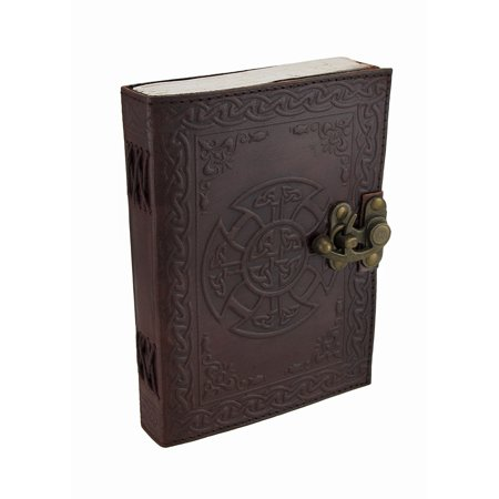 Mandala and Knotwork Embossed Leather Journal w/Swing Clasp (Journal Leather Embossed)