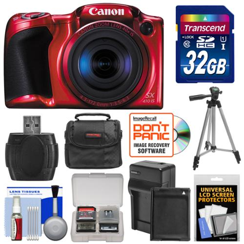 Canon PowerShot SX410 IS Digital Camera (Red) with 32GB Card + Battery & Charger + Case + Tripod + Kit