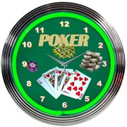 Neonetics Bar and Game Room 15'' Poker Wall Clock