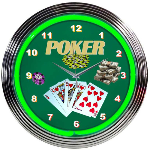 Neonetics Bar and Game Room 15'' Poker Wall Clock