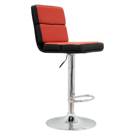 Best Master Furniture Tufted Vinyl Adjustable Height Swivel Bar Stool, Set of 2, Red/Black or