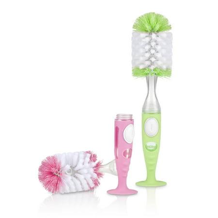 Nuby 2 Pk Soap Dispensing Bottle Brushes, Pink and (Soap Dispensing Dish Brush)