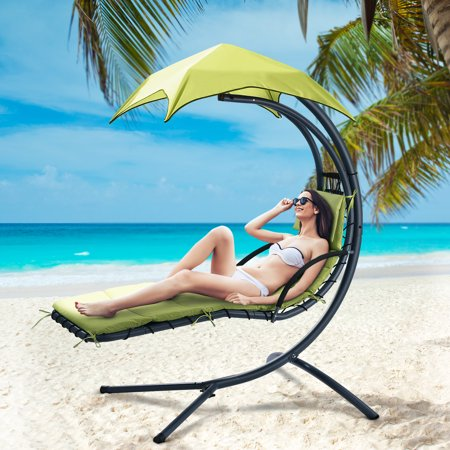 Finether Hanging Chaise Lounge Chair Outdoor Indoor Hammock Chair Swing with Arc Stand, Canopy and Cushion for Patio Beach Bedroom Yard Garden, Nail polish included for Scratch Repair, Grass