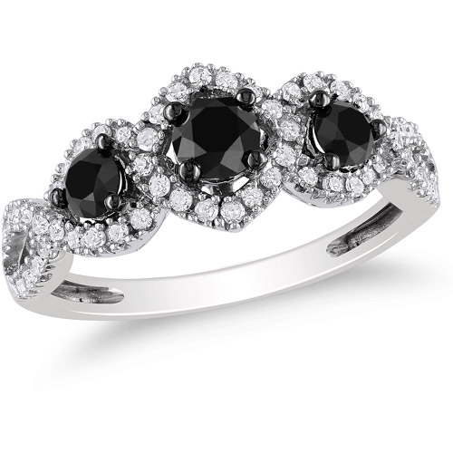1 Carat T.W. Black and White Diamond Fashion Ring in 10kt White Gold (4.5mm and 3.4mm)