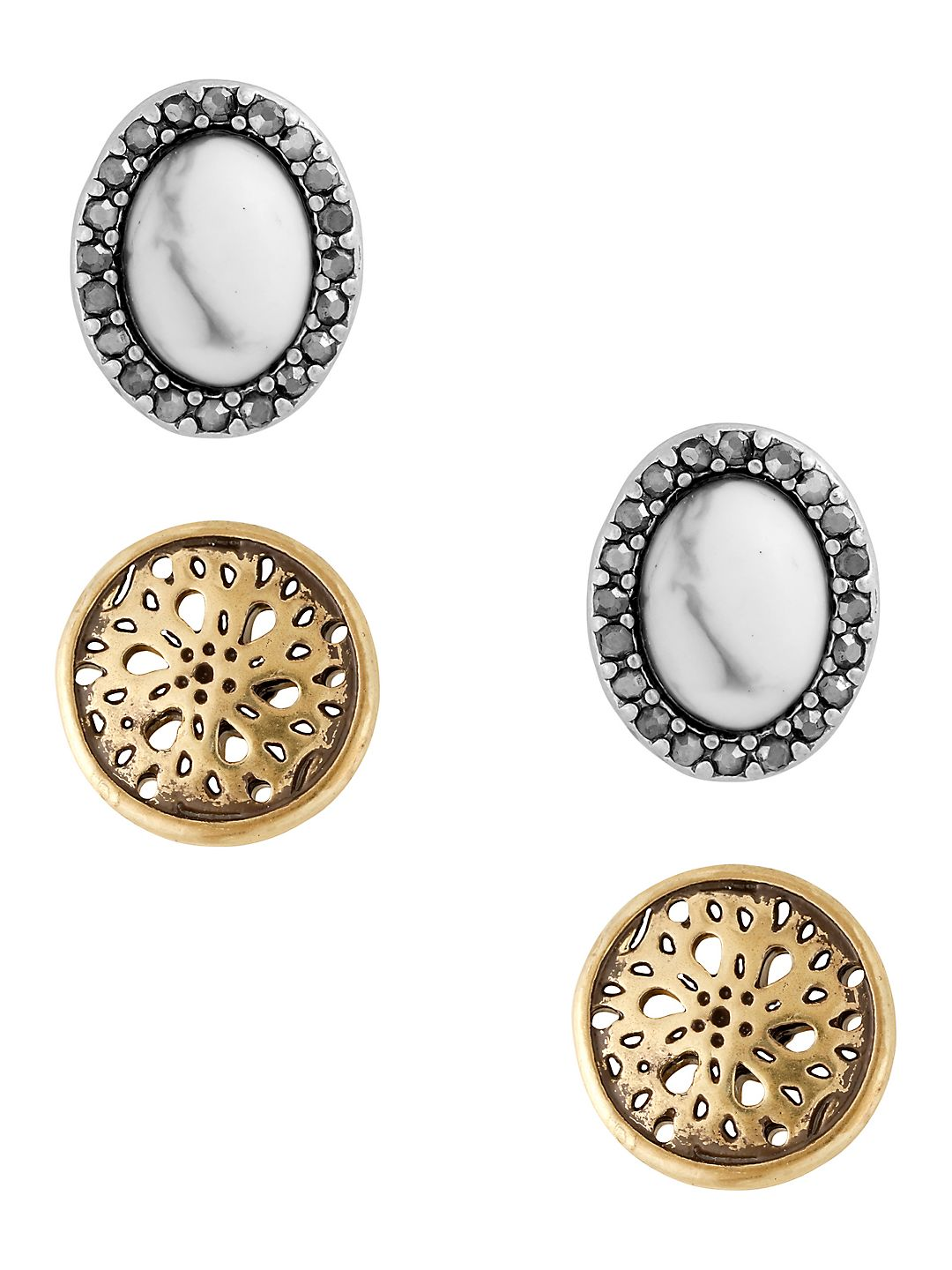 Openwork & Oval Stud Earrings- Set of 2