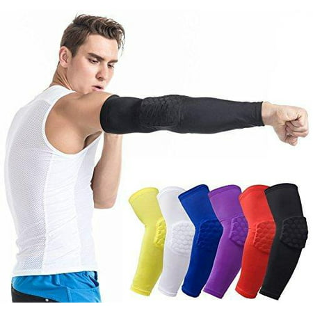Elbow Sleeve Pad - Protective Compression Arm Guard Sleeve Support for Basketball Football Volleyball Baseball Softball Cycling and Running Black,White,Red,Blue