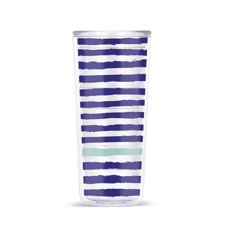 18oz DW Tritan Tumbler - Stripes & Spirals - Blue and Sea Aqua Stripes - 4pack