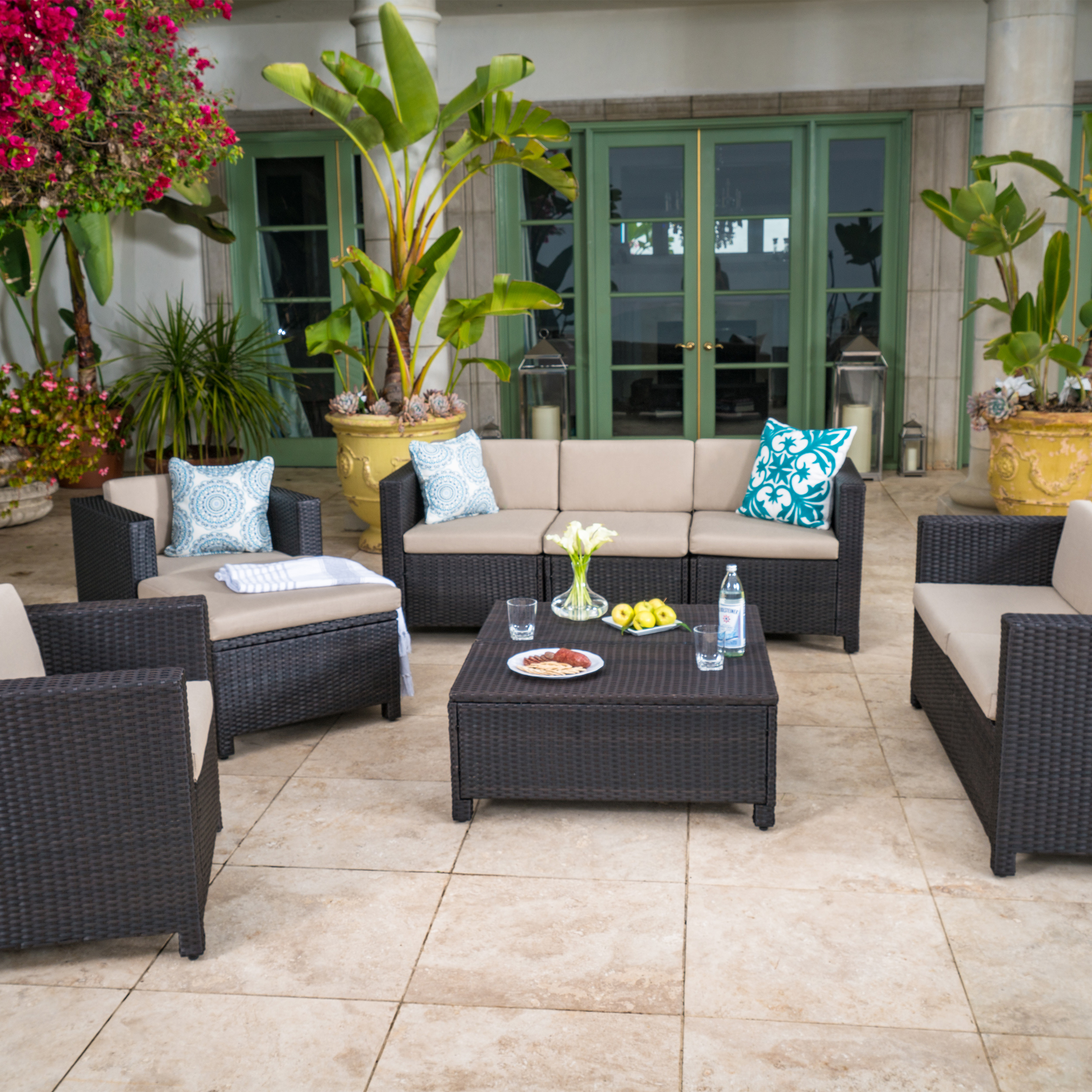 Cascada 9 Piece Outdoor Wicker Chat Set with Cushions, Dark Brown and Beige