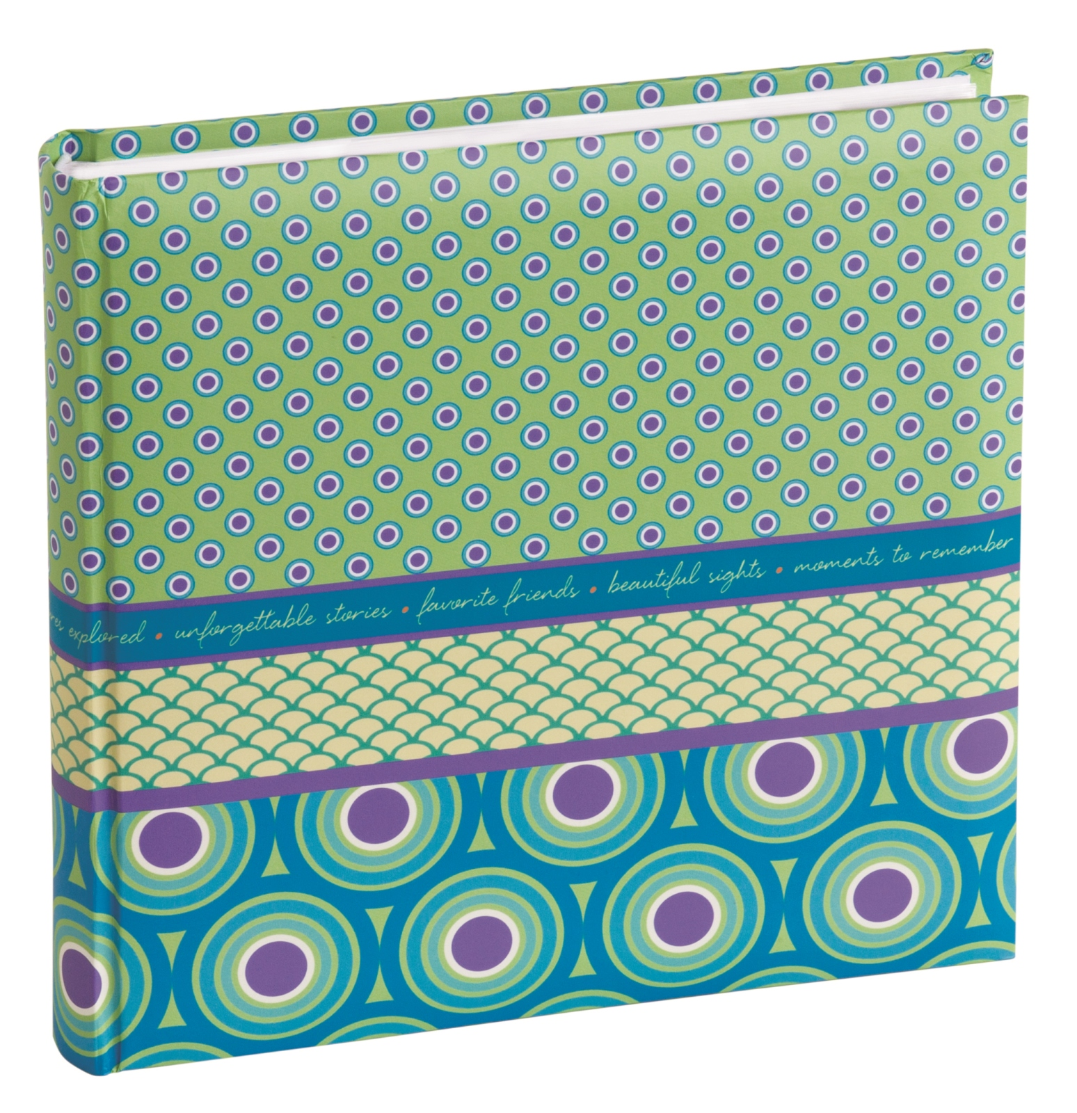 Green and Purple Dots Moments To Remember 4 By 6 Inch Photo Album 160 Capacity