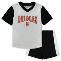 Baltimore Orioles Toddler Little Hitter V-Neck T-Shirt & Shorts Set - White/Black
