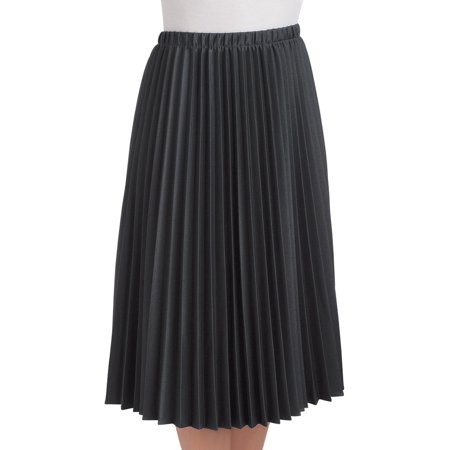 Women's Pleated Mid Length Midi Skirt, Large, Black - Made in the USA (Pleats V-neck Skirt)