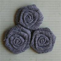 """Vintage Linen Burlap Roses, 2"""", 3pk"""