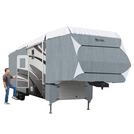 Classic Accessories OverDrive PolyPRO™ 3 Deluxe Extra Tall 5th Wheel Cover or Toy Hauler Cover, Fits 37' - 41' RVs - Max Weather Protection RV Cover, Grey/Snow
