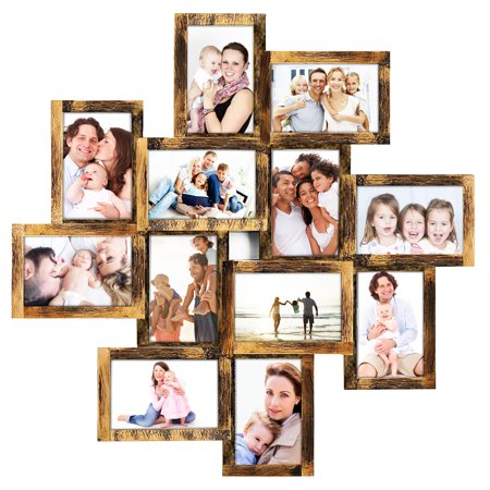 Photo Frame 24x24 Square Storm PVC Picture Frame Selfie Gallery Collage Wall Hanging for 6x4 Photo - 12 Photo Sockets - Wall Mounting Design ()