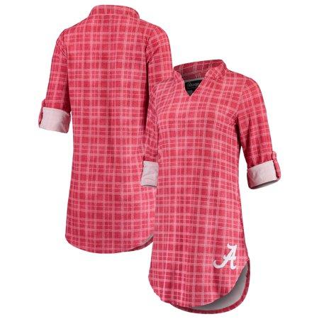 Alabama Crimson Tide Women's Best Dressed Plaid V-Neck 3/4-Sleeve Tunic Shirt -