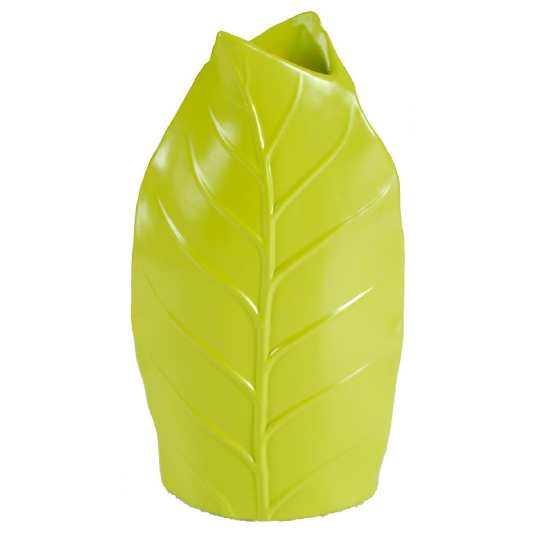 """Image of 10.5"""" Lime Green Leaf Textured Decorative Spring Vase"""