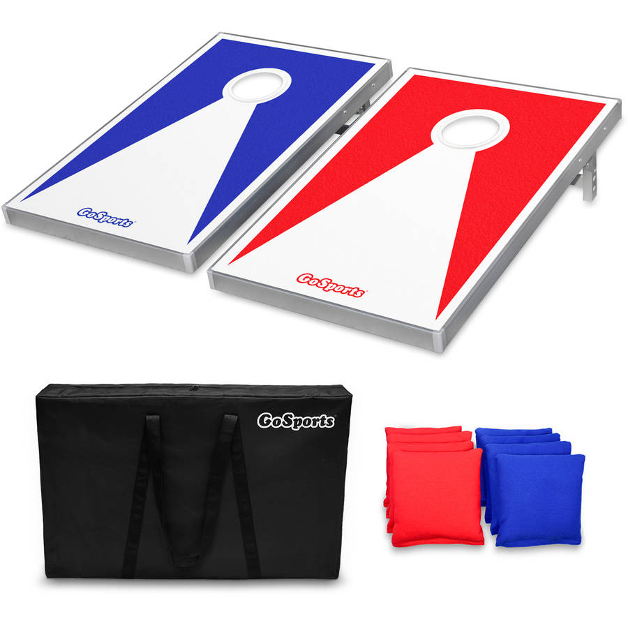 GoSports Foldable Cornhole Boards Beanbag Toss Game Set, Superior Aluminum Frame, Red and Blue Design w  8 Beanbags and... by P&P Imports LLC