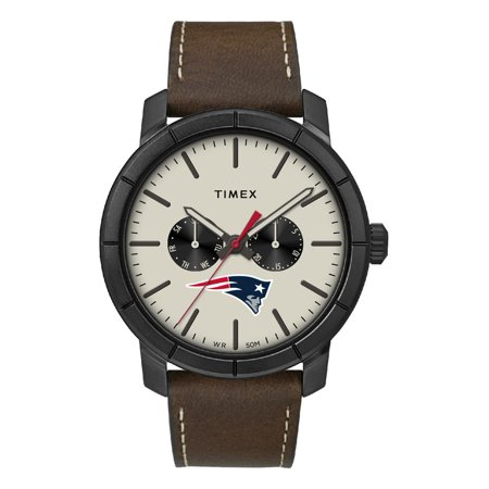 Men's New England Patriots Timex Watch Home Team Leather Watch Team Color Leather