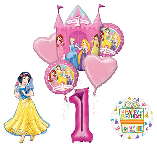 Mayflower Products Princess 1st Birthday Party Supplies Snow White Balloon Bouquet - Princess First Birthday