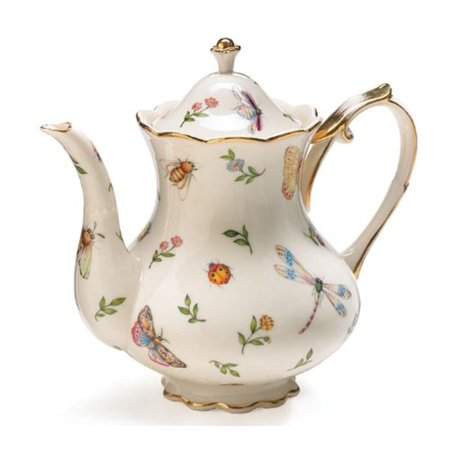 Porcelain Butterfly & Dragonfly Teapot Trimmed In Gold, Porcelain teapot accented with butterflies and dragonflies By Morning Meadow