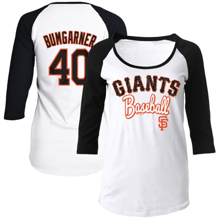 San Francisco Giants Glitter - Madison Bumgarner San Francisco Giants 5th & Ocean by New Era Women's Glitter 3/4-Sleeve Raglan T-Shirt - White/Black