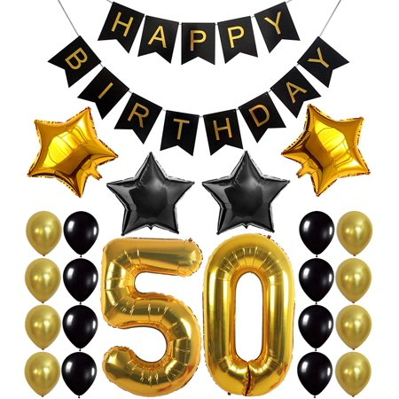 50 Birthday Decorations (Gold 50th Birthday Decorations Kit – Large, Pack of 26 | Number 5 and 0 Party Balloons Supplies | Black Happy Birthday Banner | Perfect for 50 Years Old)