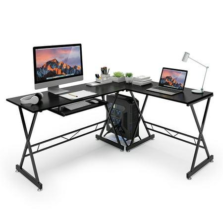 SLYPNOS L-Shaped Corner Gaming Desk, Black Walnut ...