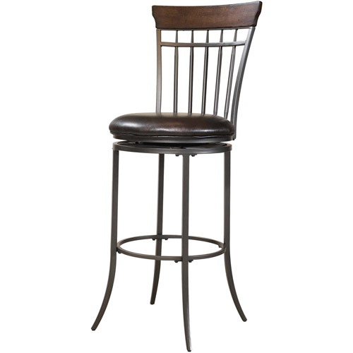 """Hillsdale Furniture Cameron 42"""" Vertical Spindle Back Swivel Counter Stool, Chestnut Brown Finish"""